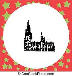 背景, 隔離された, イラスト, オーデコロン, ベクトル, ドイツ, 星, 大聖堂, 白, ラウンド