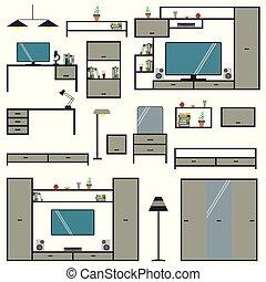 背景, 隔離された, セット, 家具, 漫画, 大きい, 家, 白