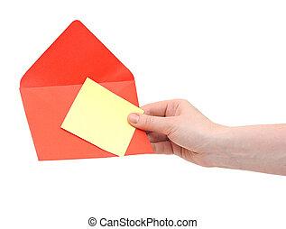 背景, 隔離された, 封筒, 赤, 手, 白
