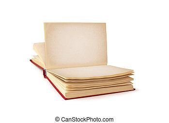 背景, 隔離された, 本, きれいにしなさい, 白, 開いた