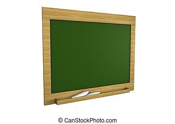 背景, 隔離された, 緑, ブランク, 黒板, 白