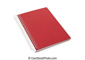 背景, 隔離された, 赤, ノート, 白