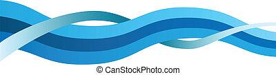 背景, 青, 抽象的, 波状