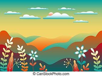 背景, 青, 自然, 景色。, 田舎, 木, フィールド, 赤い山, イラスト, 森林, 丘, 色, 空, 漫画, design., 平ら, 最新流行である, 明るい, 美しい, sun., スタイル, 湖, 黄色, ベクトル