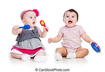 背景, 面白い, 女の子, toys., 隔離された, 白, 赤ん坊, ミュージカル