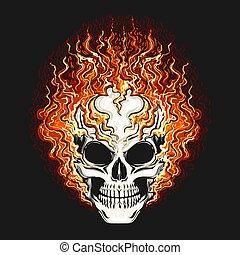 背景, 頭骨, 黒, 火, 炎