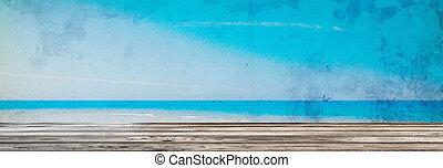 背景, 風景, 浜, 型