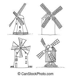 背景, 風車, シルエット, ベクトル, 白, 隔離された, セット