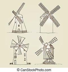 背景, 風車, シルエット, ベクトル, 隔離された, セット, ベージュ