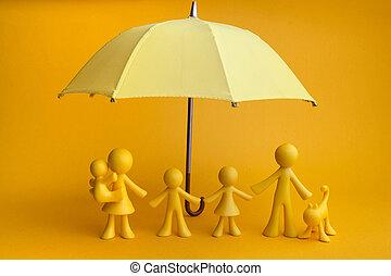 背景, 黄色の洋傘, 数字, 家族