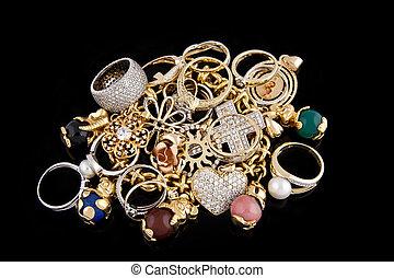 背景, 黒, 宝石類, 金