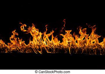 背景, 黒, 燃え上がる, 炎