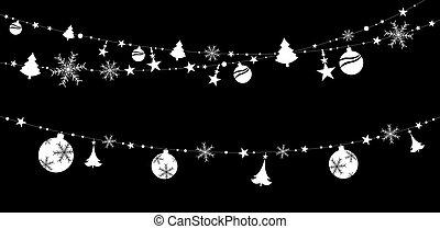 背景, 黒, 隔離された, イラスト, 装飾, ステッカー, ベクトル, クリスマス