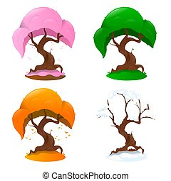 背景, 4つの季節, 白, 木