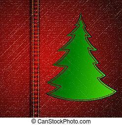 背景, -, a, 材料, の, ジーンズ, ∥で∥, クリスマス, 木。, ベクトル