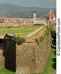 背景, belvedere, 壁, 大聖堂, フィレンツェ, 風景, 城砦