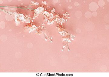 背景, bokeh, 上に, 花, ピンク