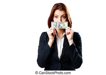 背景, businesswoman, 美元, 隔离, 我们, 握住, 白色