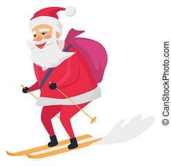 背景, clous, santa, スキーの白, 幸せ
