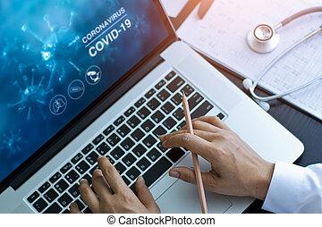 背景。, coronavirus, 醫生, 膝上型, 數据, 或者, 使用計算机, 分析, 實驗室, covid-19