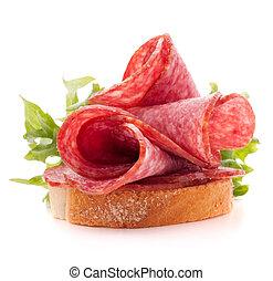 背景, cutout, 蒜味咸辣腸, 三明治, 白色, 香腸