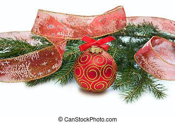 背景, decoration., 隔離された, 装飾, 白, 休日, クリスマス