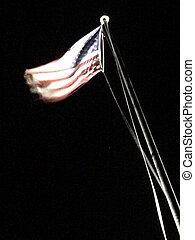 背景, flagpole, アメリカ人, 動き, 黒, 旗