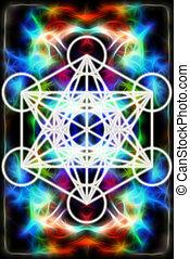 背景, geometry., effect., ライト, 抽象的, merkaba, 神聖, フラクタル