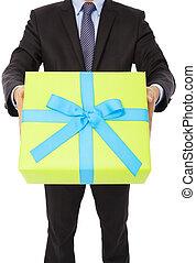 背景, gift., 隔离, 握住, 商人, 白色