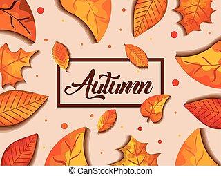 背景, leafs, 装飾, 秋