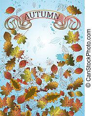 背景, leaves., 秋