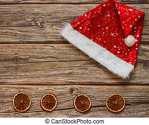 背景, mandarines, frame., 上, ビュー。, 帽子, クリスマスの 休日, テーブル。, 位置, 冬, コピースペース, 木製である, 平ら