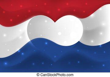 背景, netherlands, 形, イラスト, 色, love., 心, netherlands., 旗, ベクトル, 国民, waves., 形づくられた