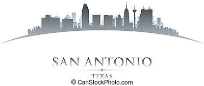 背景, san, スカイライン, 都市, テキサス, antonio, シルエット, 白