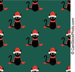 背景, seamless, ねこ, 黒, santa, 緑の帽子, 小ガモ