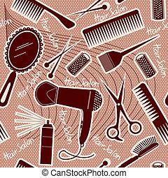 背景, seamless, ベクトル, 装置, hairdressing, pattern.