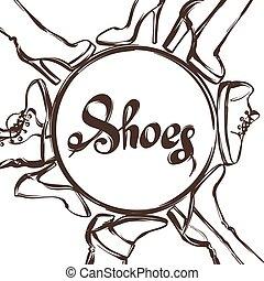背景, shoes., 小剣, イラスト, 手, はき物, ブーツ, 女性, かかと, 引かれる