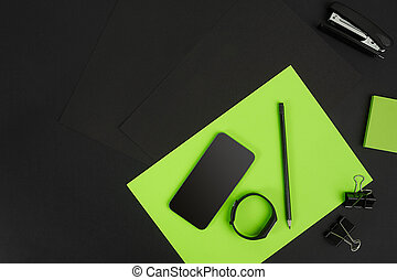 背景, space., オフィス, 上, 供給, コピー, 黒板, 光景