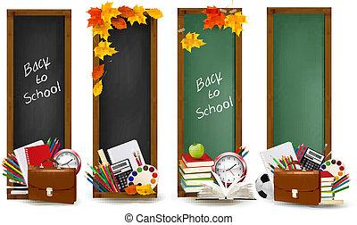 背, 到, school.four, 旗幟, 由于, 學校用品, 以及, 秋天, leaves., vector.