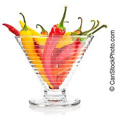 胡椒, 蔬菜, 水果, 在, 玻璃瓶, 被隔离