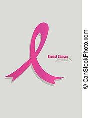 胸部癌症意識, 粉紅的帶子, 醫療衛生和醫學, concept., 矢量, illustration.