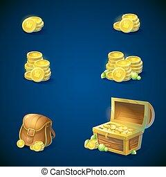 胸, -, エメラルド, オブジェクト, 袋, セット, コイン