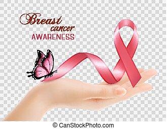 胸, バックグラウンド。, リボン, がん, vector., 認識, 女性, 透明, 手
