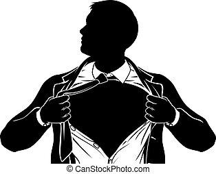 胸, ビジネス, superhero, 提示, 人, 引き裂くこと, ワイシャツ