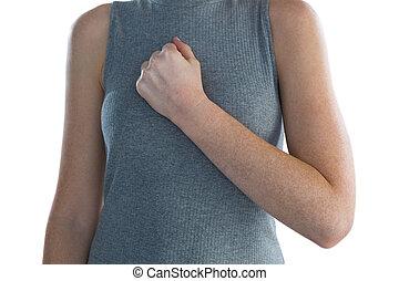 胸, 手, セクション, 中央の, 女性実業家
