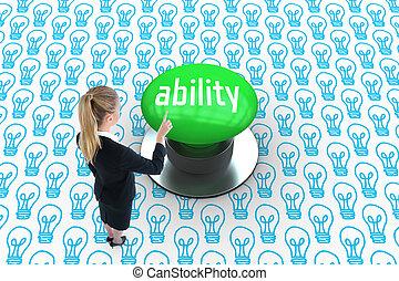 能力, に対して, ディジタル方式で生成された, 緑, 押しボタン