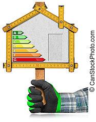 能量, 效率, -, 签署, 在中, the, 形状, 在中, 房子