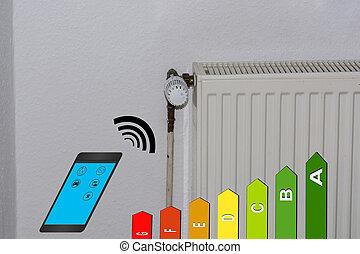 能量, 效率, 类别, 符号, 散热器, 同时,, smartphone.