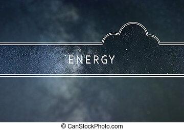 能量, 词汇, 云, concept., 空间, 背景。