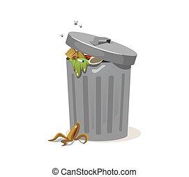能, 装满, 剥皮, 垃圾, 废物, 香蕉